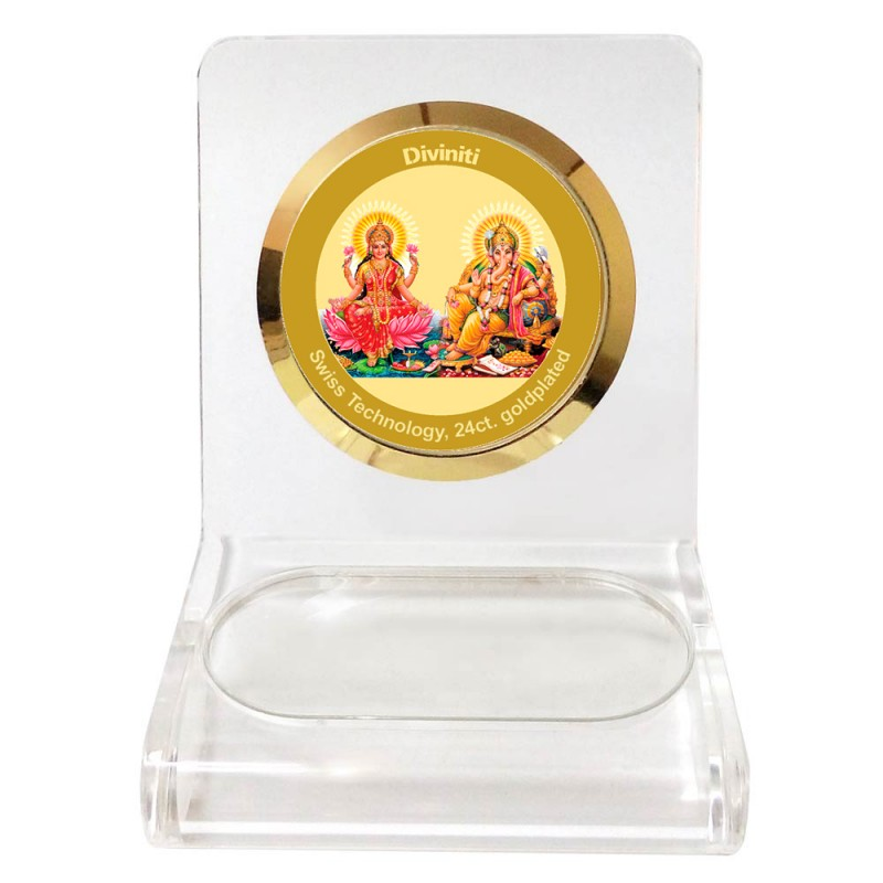 24K GOLD PLATED WPCF 1C CLASSIC COLOR GANESH & LAXMI