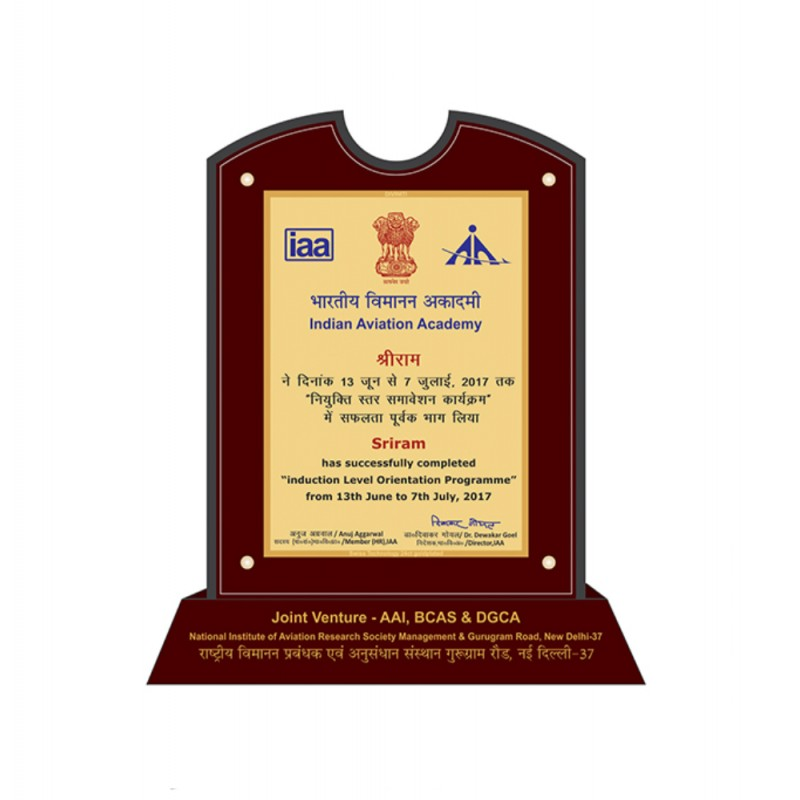24K GOLD PLATED MDF TROPHy INDIAN AVIATION ACADEMY(IAA)