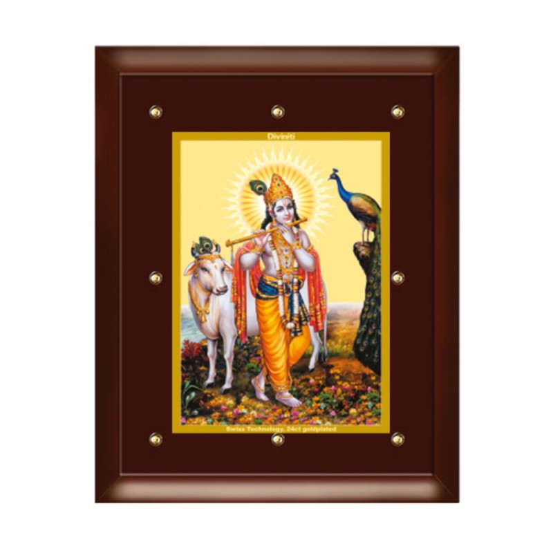 MDF FRAME SIZE 5 CLASSIC COLOR  RECTANGULAR KRISHNA WITH COW
