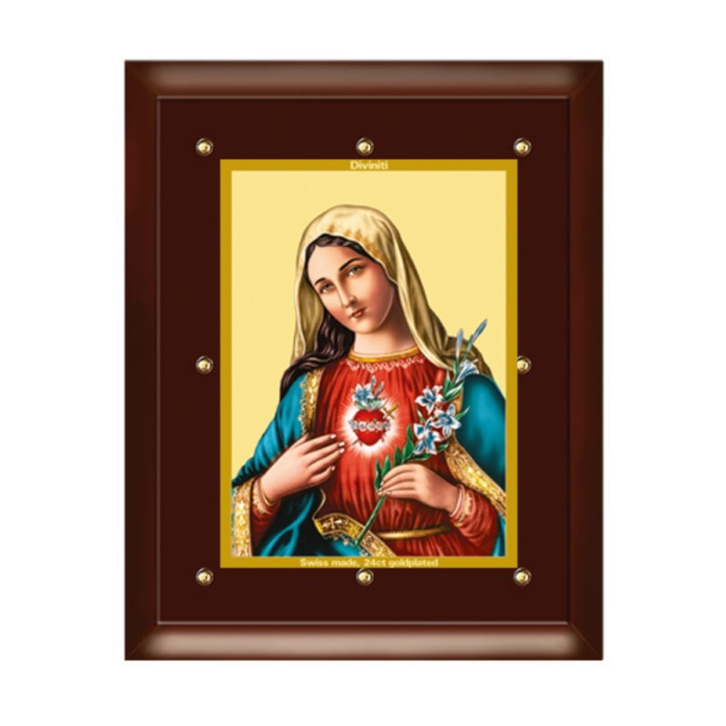 24K GOLD PLATED MDF FRAME SIZE 5 CLASSIC COLOR  MOTHER MARY
