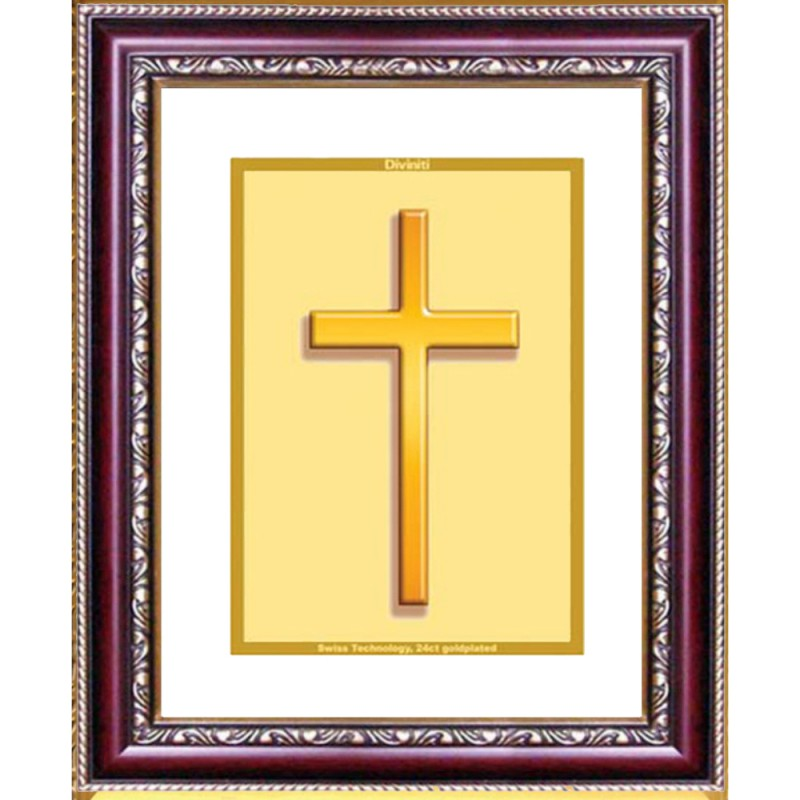 24K GOLD PLATED DG FRAME 105 SIZE 2 CLASSIC COLOR HOLY CROSS