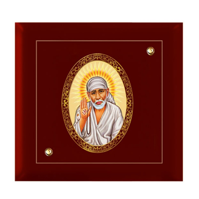 24K GOLD PLATED MDF FRAME SIZE 7D ROYALE COLOR SAI BABA CLOSEUP