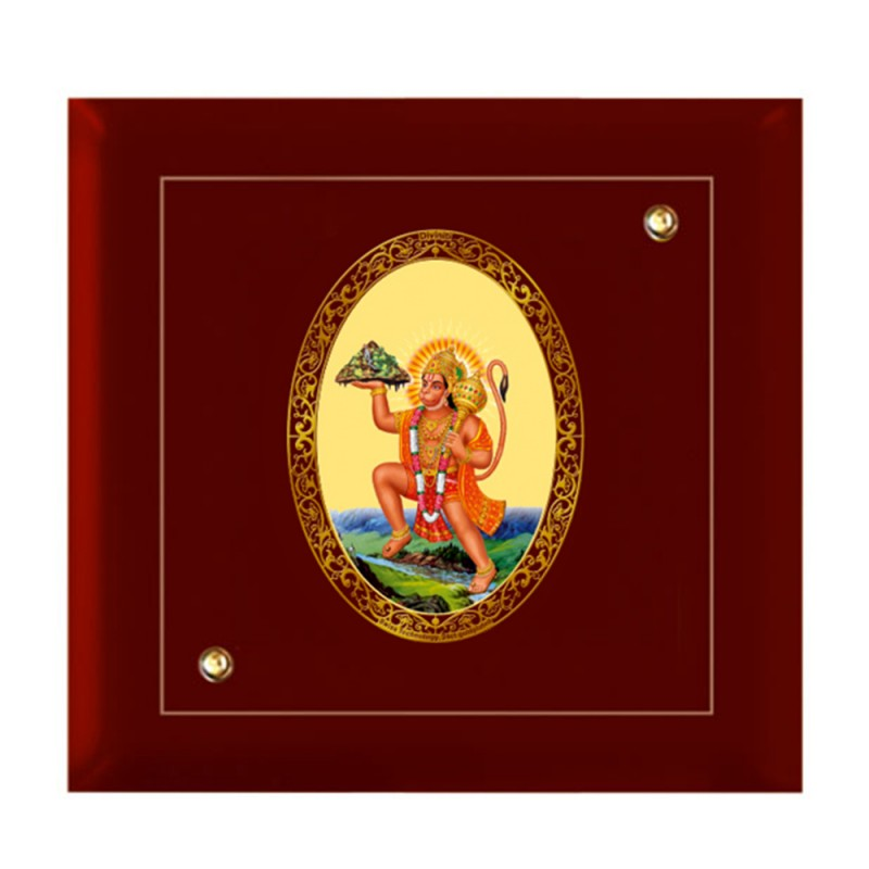 MDF FRAME SIZE 7D ROYALE COLOR OVAL HANUMAN WITH MOUNTAIN