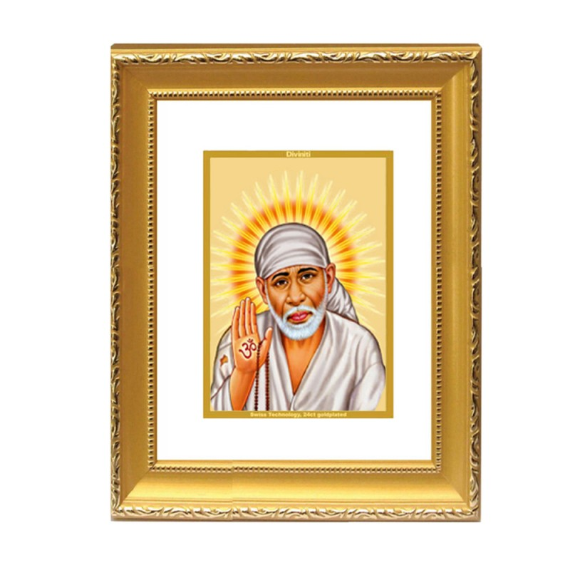 24K GOLD PLATED DG FRAME 101 SIZE 2 CLASSIC COLOR SAI BABA -1