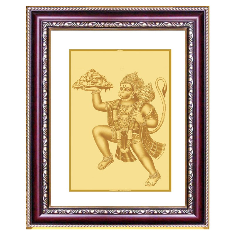 DG FRAME 105 SIZE 3 CLASSIC GOLD RECTANGULAR HANUMAN WITH MOUNTAIN