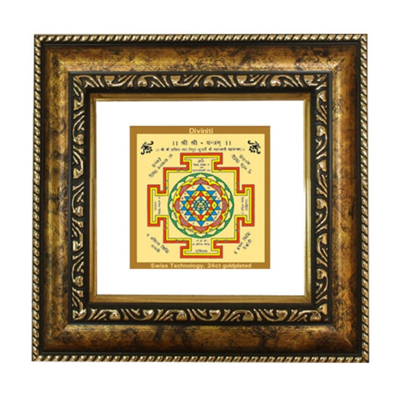 24K GOLD PLATED DG FRAME 113 SIZE 1A CLASSIC COLOR SHREE YANTRA