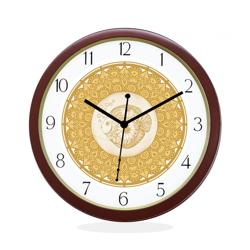 WALL CLOCK BROWN ROUND NUMERIC  FISH