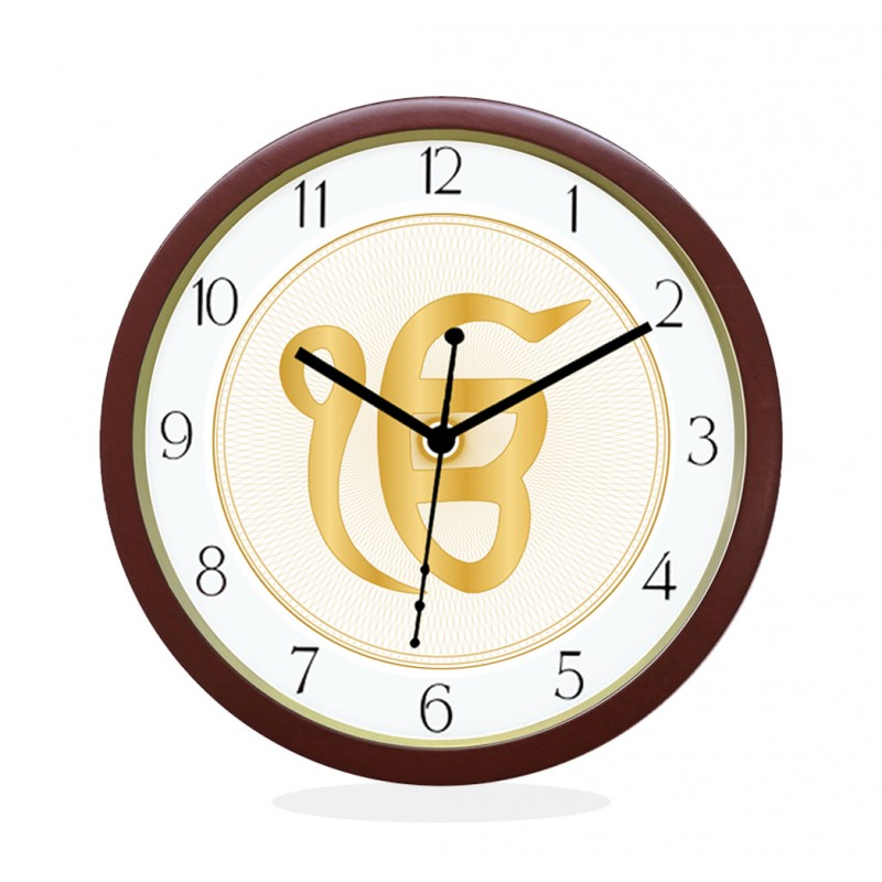 WALL CLOCK BROWN ROUND NUMERIC  EK OMKAR