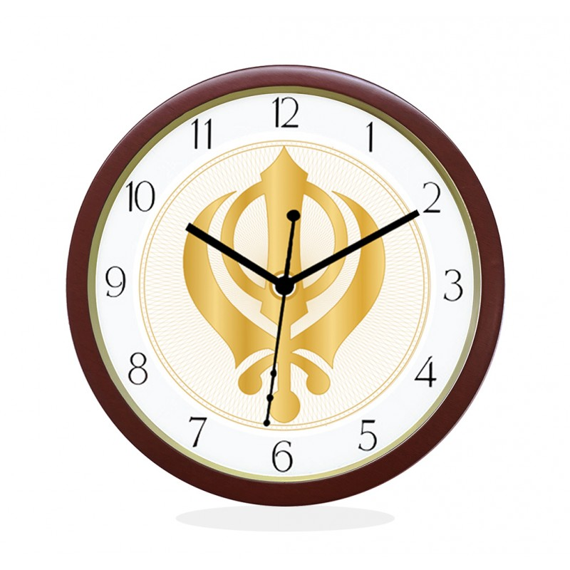 WALL CLOCK BROWN ROUND NUMERIC  KHANDA SAHIB