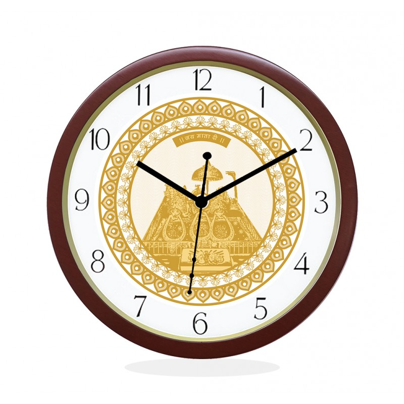 WALL CLOCK BROWN ROUND NUMERIC  GOLDEN TEMPLE