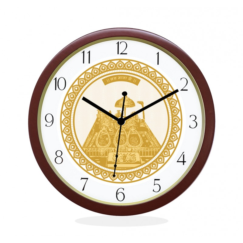 WALL CLOCK BROWN ROUND NUMERIC  MATA KA DARBAR