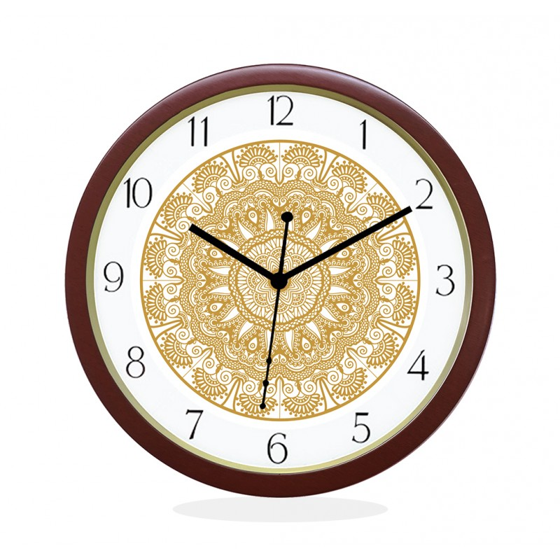 WALL CLOCK BROWN ROUND NUMERIC  FLORAL