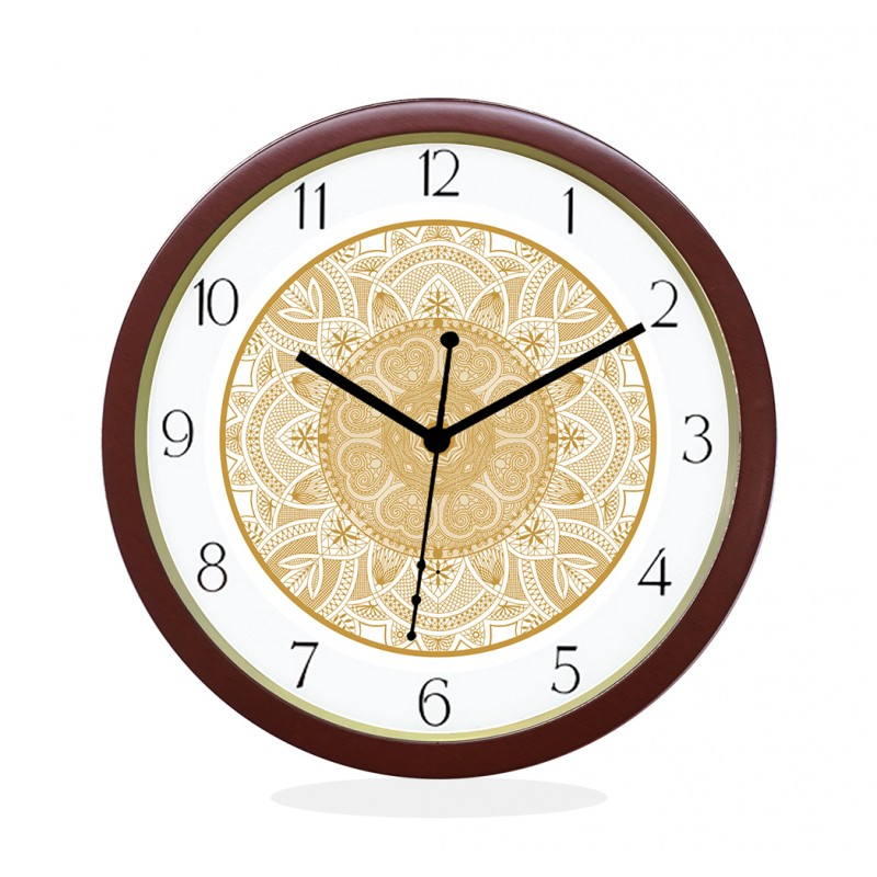 WALL CLOCK BROWN ROUND NUMERIC  HEART