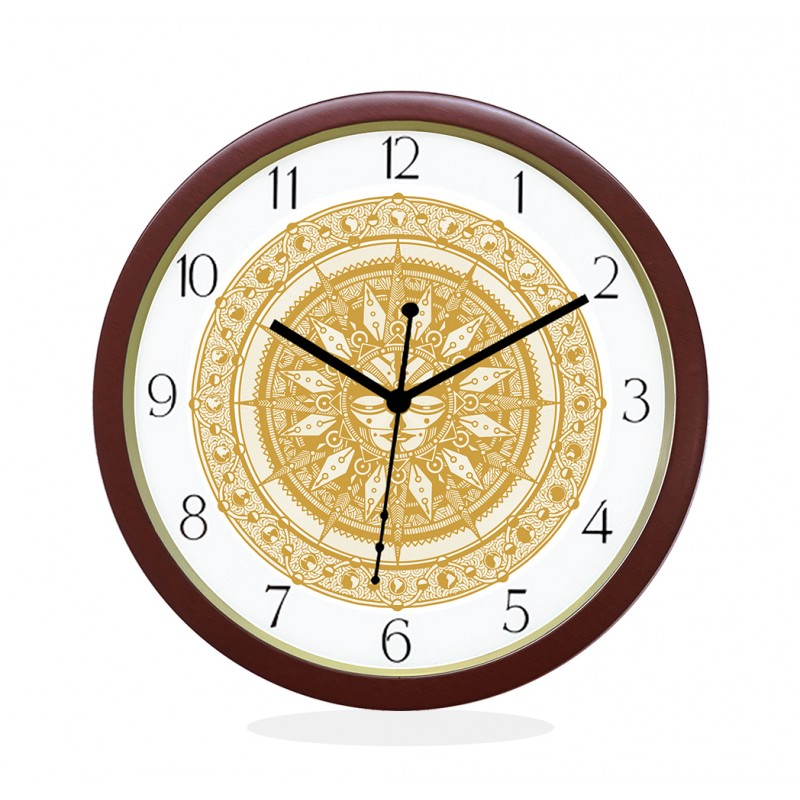 WALL CLOCK BROWN ROUND NUMERIC  SUN