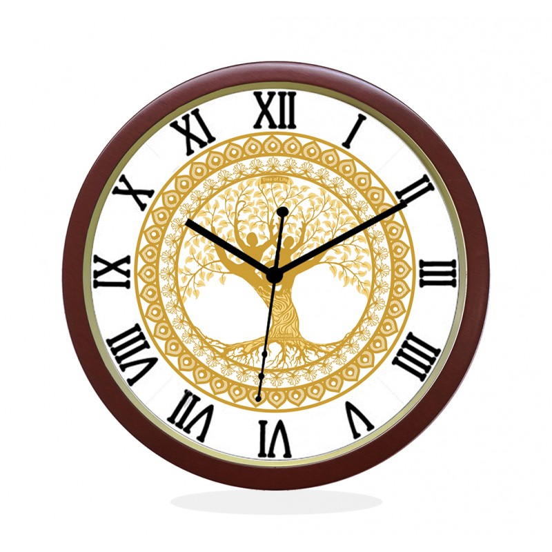 WALL CLOCK BROWN ROUND ROMAN  TREE OF LIFE