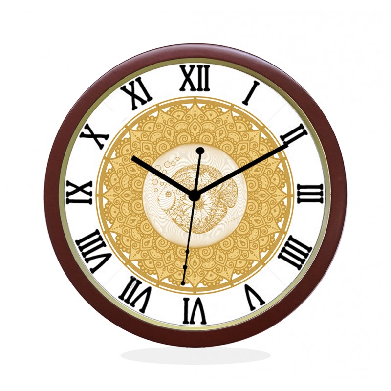 WALL CLOCK BROWN ROUND ROMAN  FISH