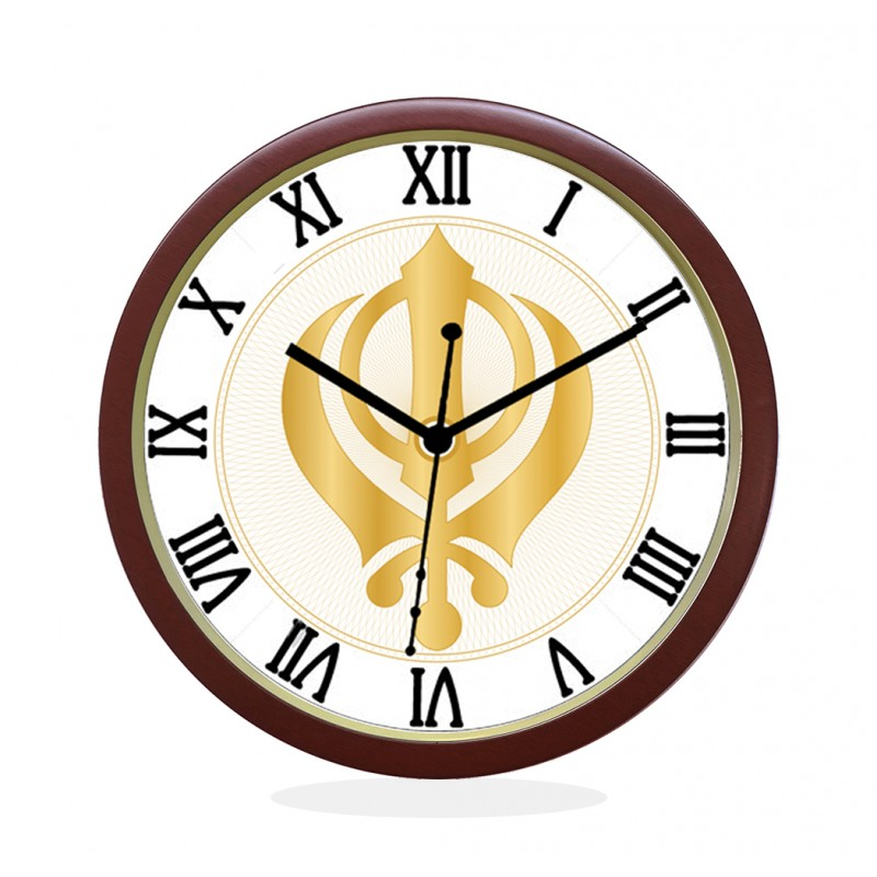 WALL CLOCK BROWN ROUND ROMAN  KHANDA SAHIB