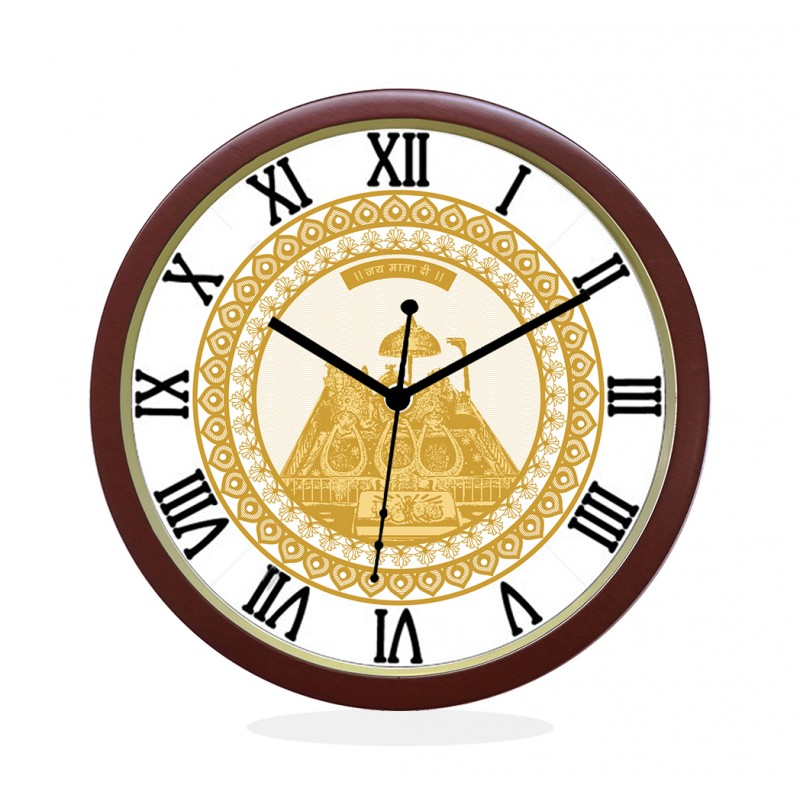 WALL CLOCK BROWN ROUND ROMAN  GOLDEN TEMPLE