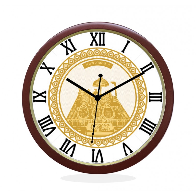 WALL CLOCK BROWN ROUND ROMAN  MATA KA DARBAR