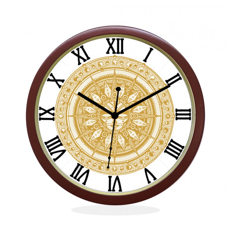 24K GOLD PLATED WALL CLOCK BROWN ROUND ROMAN  SUN