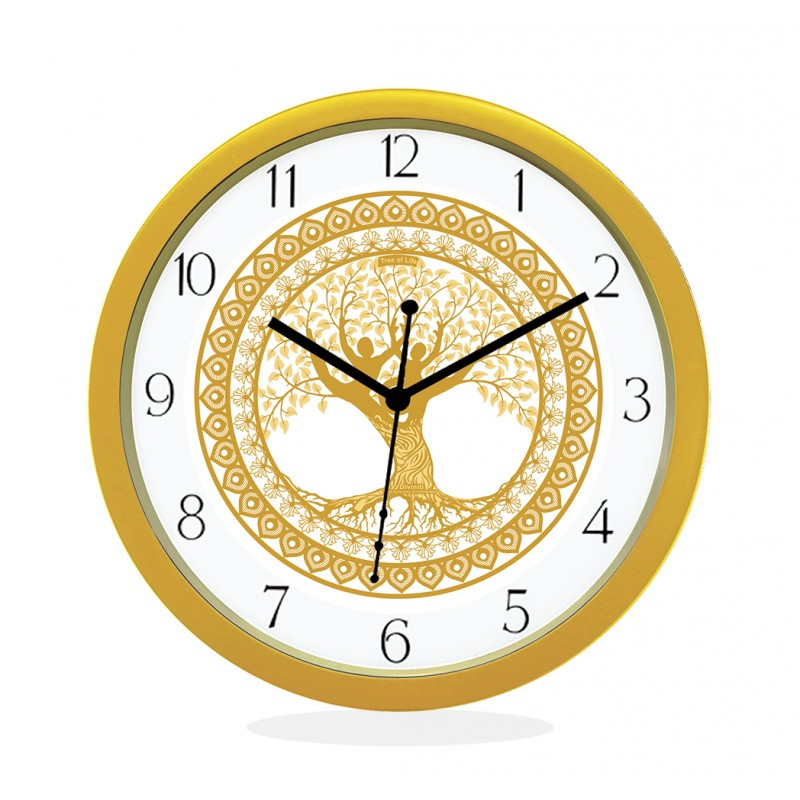 WALL CLOCK GOLD ROUND NUMERIC  TREE OF LIFE