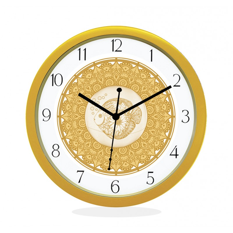 WALL CLOCK GOLD ROUND NUMERIC  FISH