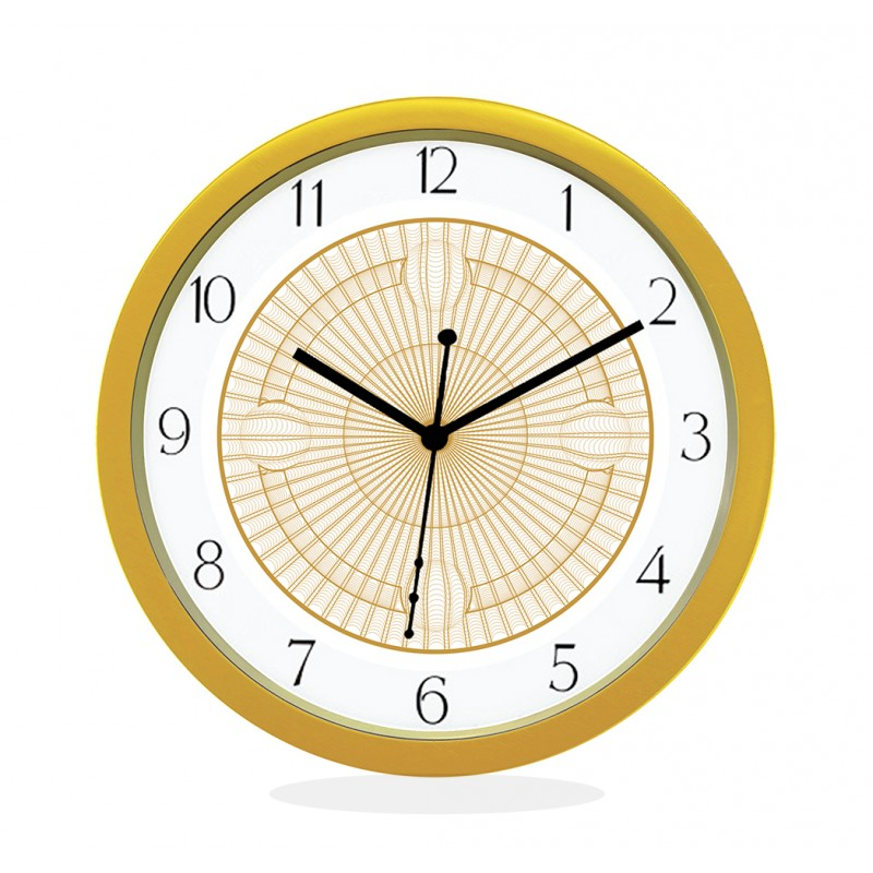 24K GOLD PLATED WALL CLOCK GOLD ROUND NUMERIC  NET