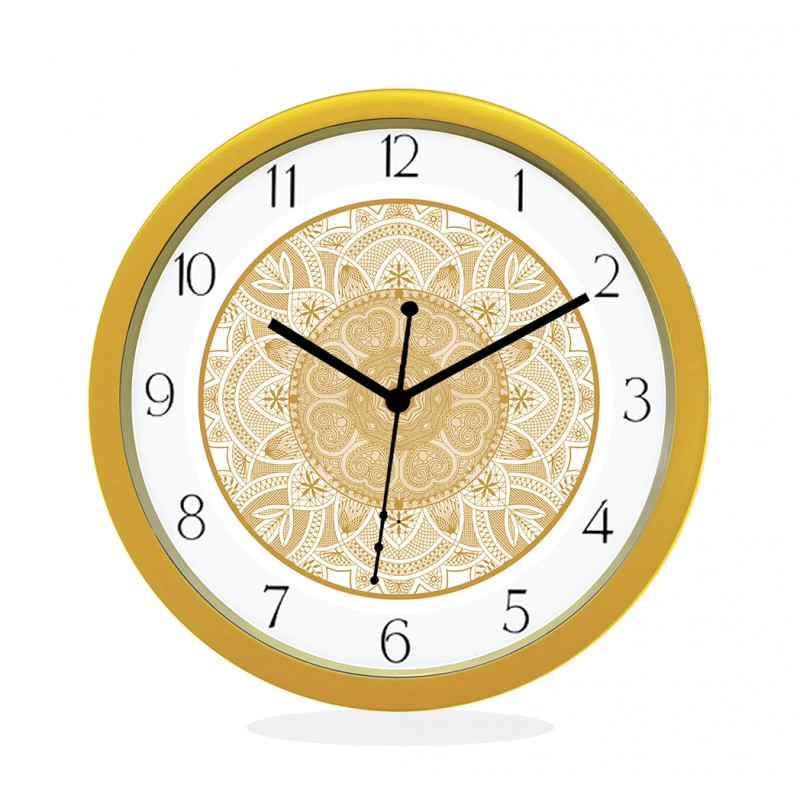 WALL CLOCK GOLD ROUND NUMERIC  HEART