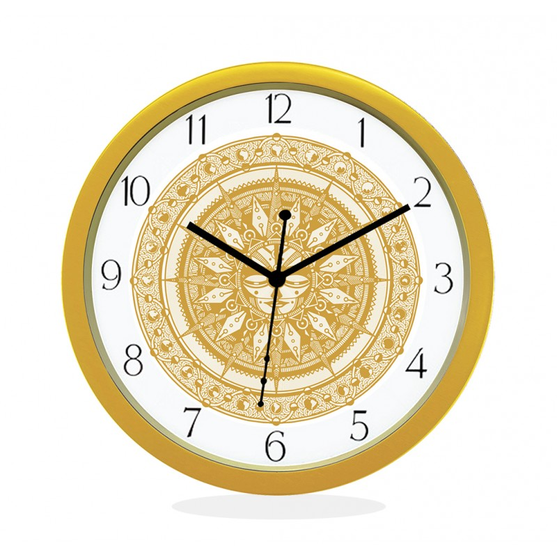 24K GOLD PLATED WALL CLOCK GOLD ROUND NUMERIC  SUN