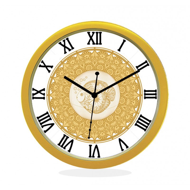 24K GOLD PLATED WALL CLOCK GOLD ROUND ROMAN  FISH