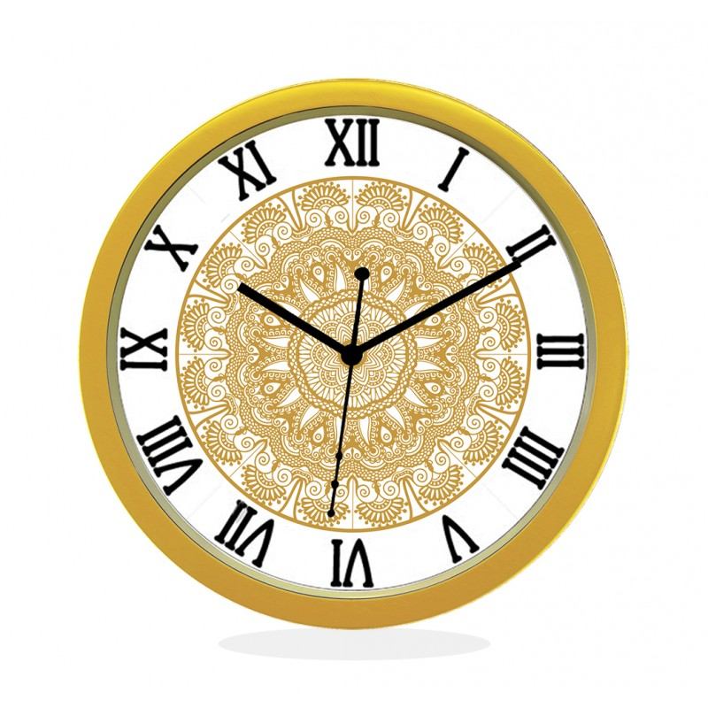 24K GOLD PLATED WALL CLOCK GOLD ROUND ROMAN  FLORAL