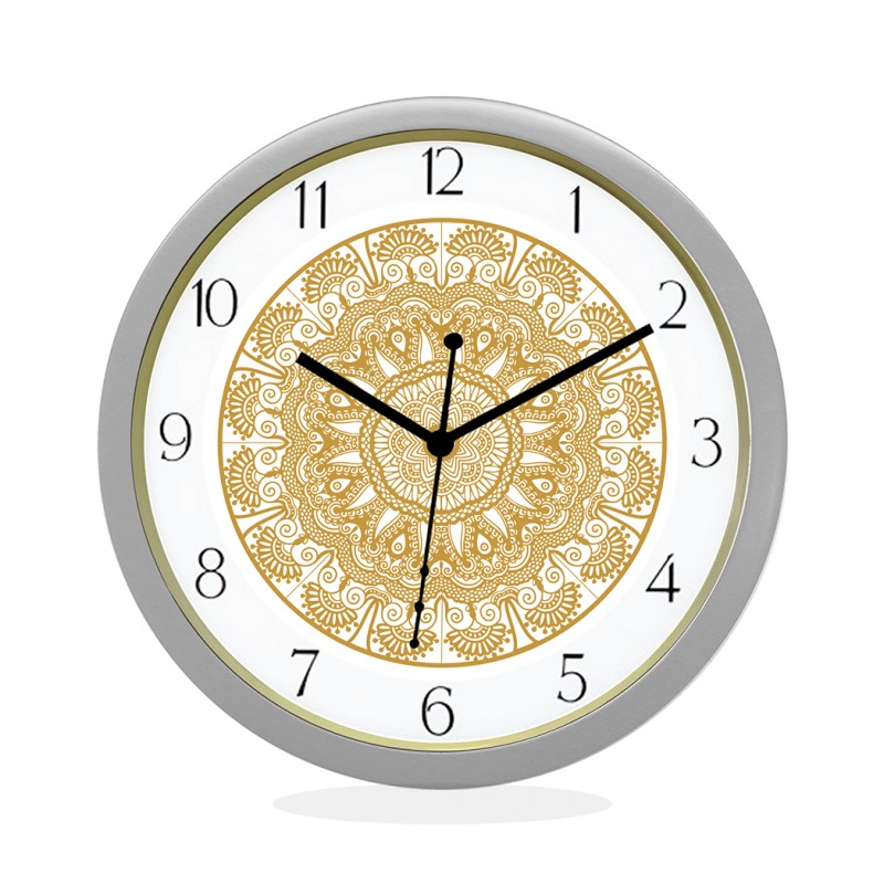WALL CLOCK SILVER ROUND NUMERIC  FLORAL