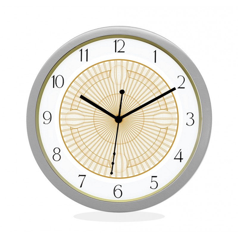 WALL CLOCK SILVER ROUND NUMERIC  NET