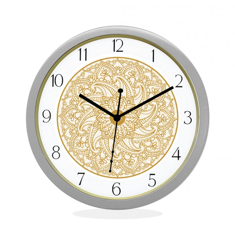 24K GOLD PLATED WALL CLOCK SILVER ROUND NUMERIC CHAKRA