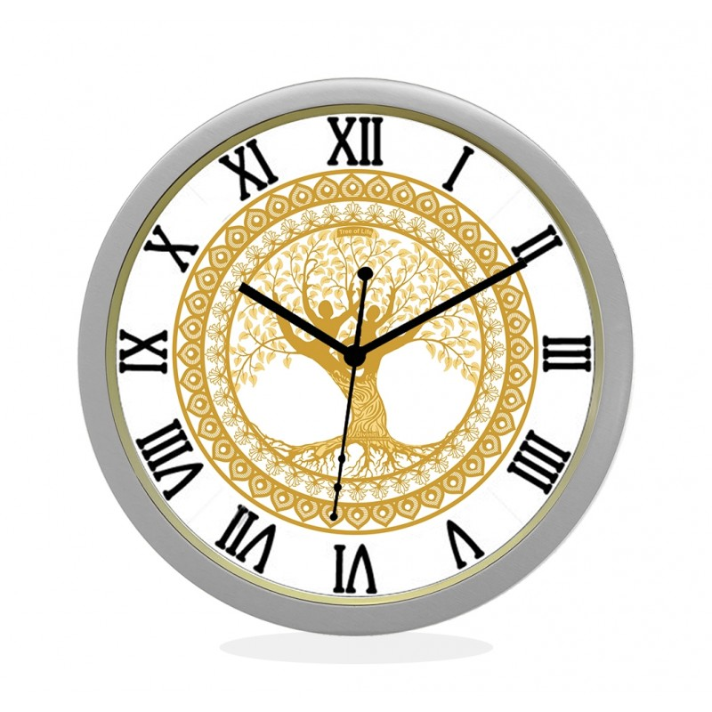 24K GOLD PLATED WALL CLOCK SILVER ROUND ROMAN  TREE OF LIFE