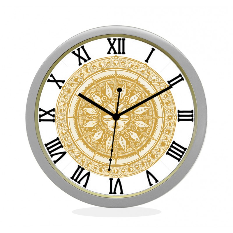 24K GOLD PLATED WALL CLOCK SILVER ROUND ROMAN  SUN