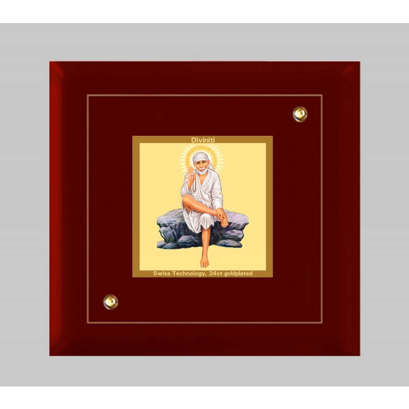 24K GOLD PLATED MDF FRAME SIZE 1A CLASSIC COLOR SAI BABA