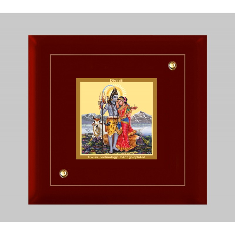 24K GOLD PLATED MDF FRAME SIZE 1A CLASSIC COLOR SHIV PARVATI