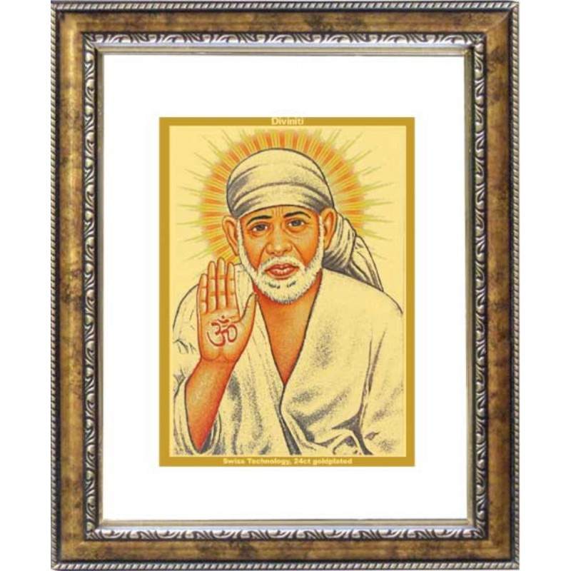 24K GOLD PLATED DG FRAME 113 SIZE 2 CLASSIC COLOR SAI BABA -1