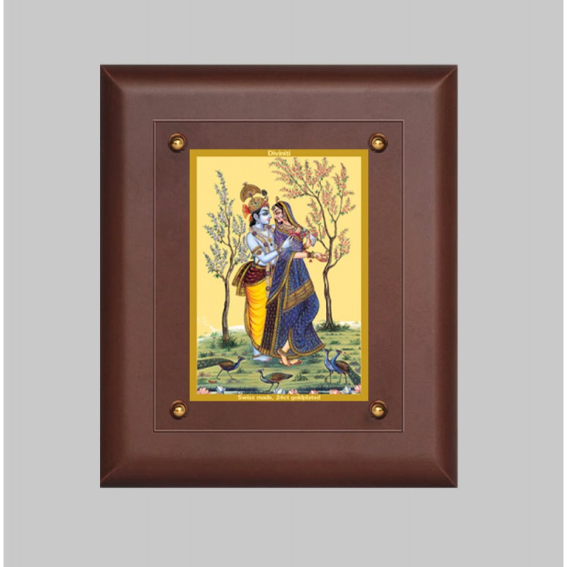24K GOLD PLATED MDF FRAME SIZE 2.5 CLASSIC COLOR RADHA KRISHNA -2