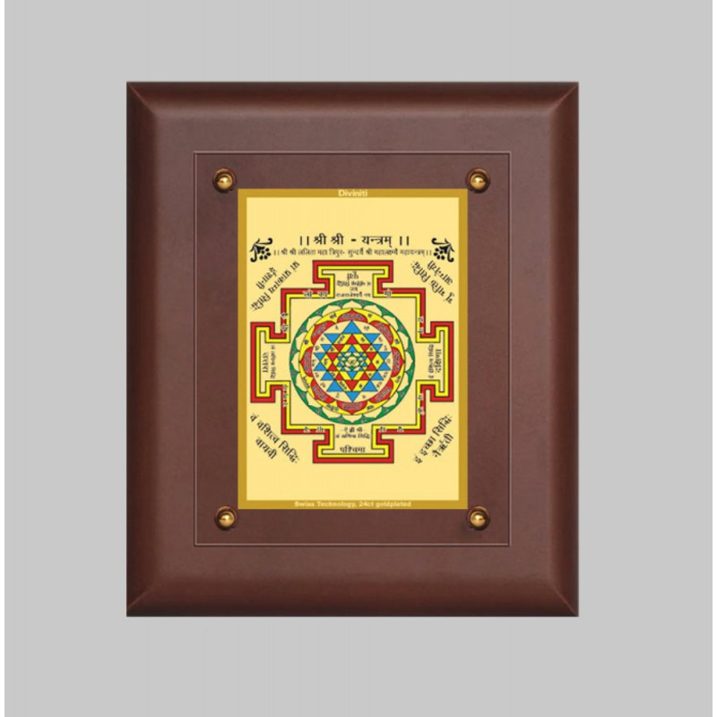 24K GOLD PLATED MDF FRAME SIZE 2.5 CLASSIC COLOR SHREE YANTRA