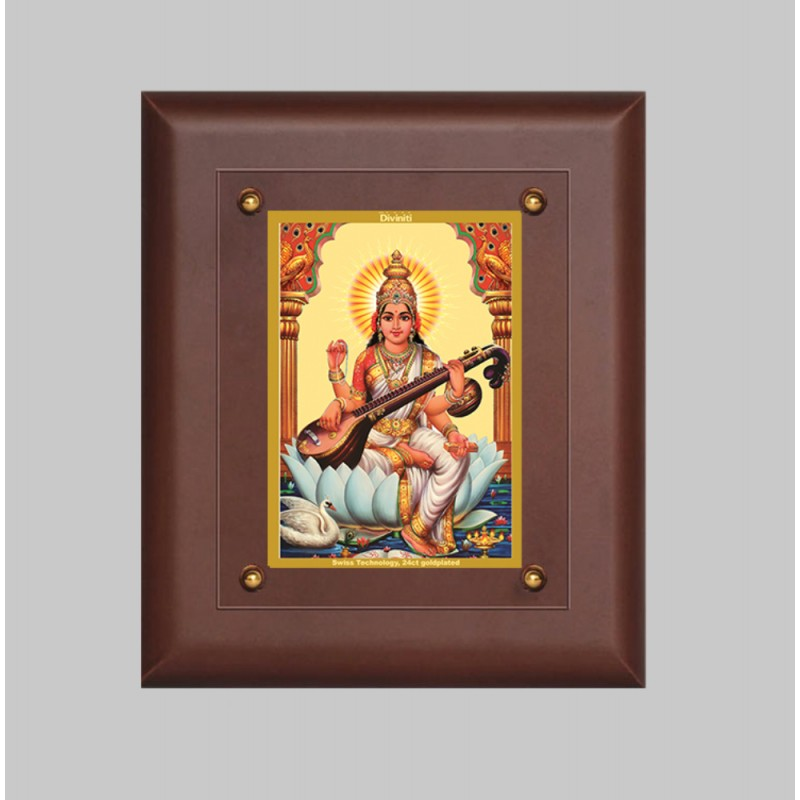 24K GOLD PLATED MDF FRAME SIZE 2.5 CLASSIC COLOR SARASWATI