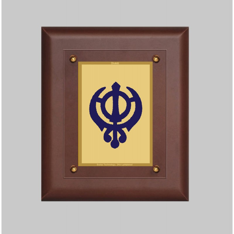24K GOLD PLATED MDF FRAME SIZE 2.5 CLASSIC COLOR KHANDA SAHIB