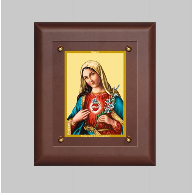 24K GOLD PLATED MDF FRAME SIZE 2.5 CLASSIC COLOR  MOTHER MARY