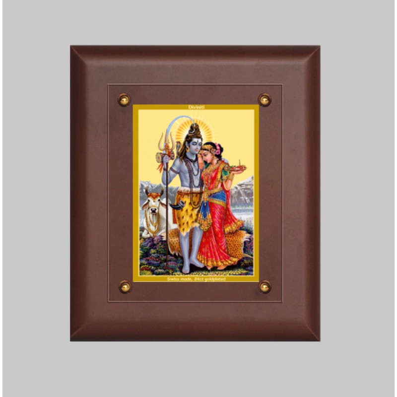 24K GOLD PLATED MDF FRAME SIZE 2.5 CLASSIC COLOR SHIVA PARVATI -1