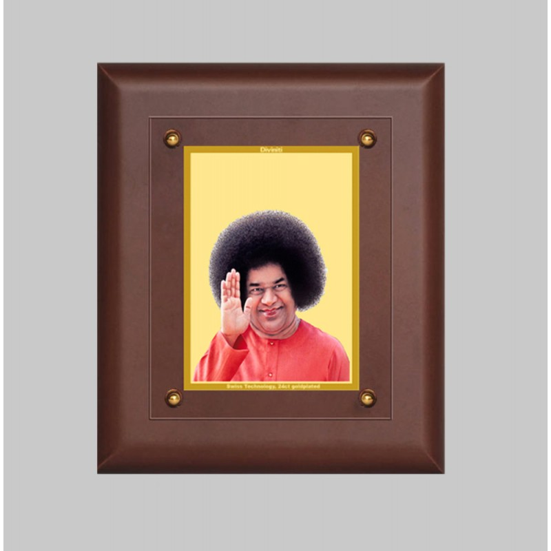 24K GOLD PLATED MDF FRAME SIZE 2.5 CLASSIC COLOR SATYA SAI
