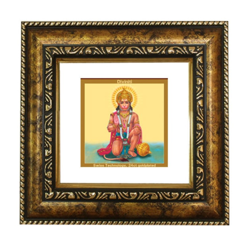 24K GOLD PLATED DG FRAME 113 SIZE 1A CLASSIC COLOR HANUMAN IN PRAYER