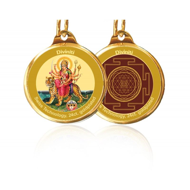 PENDANT DOUBLE SIDED SIZE 18MM DURGA & YANTRA
