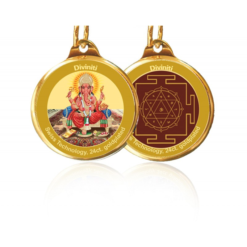 PENDANT DOUBLE SIDED SIZE 18MM GANESHA & YANTRA