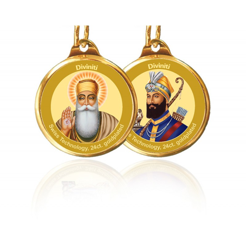 24K GOLD PLATED PENDANT DOUBLE SIDED SIZE 18MM GURUNANAK & GURU GOBIND SINGH